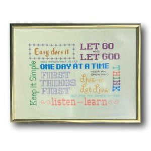 Positive Word Inspiration Handmade Embroidered Textile Art in Cross Stitch